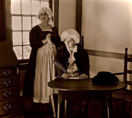 "Betty Montgomery (Abigail Adams) and A.J. Krier (John Adams) rehearse for the King's College Theatre Department's production of the Tony Award-winning musical, ""1776."""