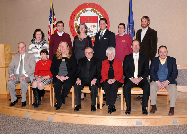 Pictured seated, from left is; Jim Gorman and Rose Marie Panzitta, Team Captains; Jacqueline Zabresky, Esq., Chair of the Community Campaign; Rev. John J. Ryan, C.S.C., president of King's; Eileen R. Melone, Past Community Chairperson; and Brian Vinsko, Esq., and Tom Semanek, Jr., Team Captains.    Pictured standing, from left is Karen Collins and Todd Serafin, Team Captains; Patrice Persico, Director of Alumni Relations and Annual Giving; Freddie Pettit, Esq., Vice President for Institutional Advancement; Sharon Nice, Co-Chair of the King's College Employee Phase; Garrett Barr, Ph.D., Co-Chair of the King's College Employee Phase.   Absent from photo was Cathy Beretski, Team Captain; Msgr. Joseph Rauscher, Chair of the Clergy Campaign and Bob Paoletti, Ph.D., Co-Chair of the King's College Employee Phase.