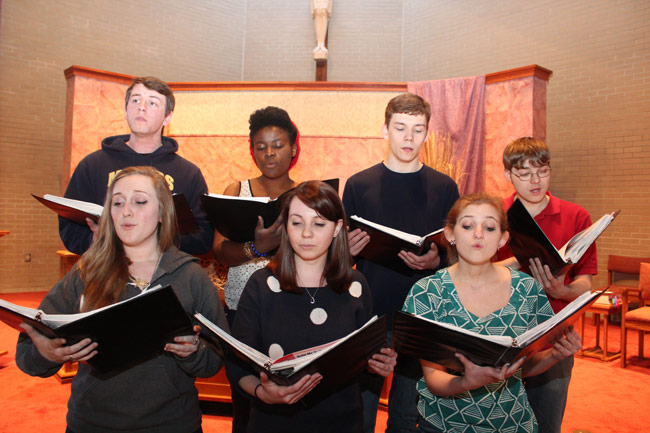 King's College choir members, pictured first row from left, are: Betty Montgomery, Cara Medwick, and Lauren Wenner. Second row: Matt Kropp, Ruthly Cadestin, Morgan Santayana, and Jonathan Vojtko.