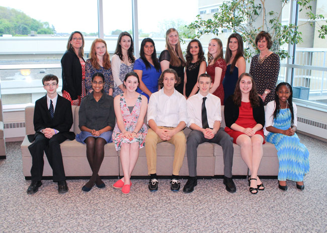 Local high school French contest winners who attended the awards dinner at King's College are, seated from left: Wyoming Seminary students Dominic Wright and Sukanya Roy; Kristiana Bowman, Crestwood; Derek Hamelin, Holy Redeemer; Gavin Lewis, Crestwood; Briana Scorey, Holy Redeemer; and Emily Laurore, Wyoming Seminary. Standing: Renee Schwartz, AATF chapter president; Wyoming Seminary students Maygen Kerner, Rebecca Barnes, Estafania Aburto Lara, Paige Allen, Jasmine El Boukili, Alyssa Kristeller, and Clara Mrkos; and Barbara Alfano, AATF secretary treasurer and French contest administrator.