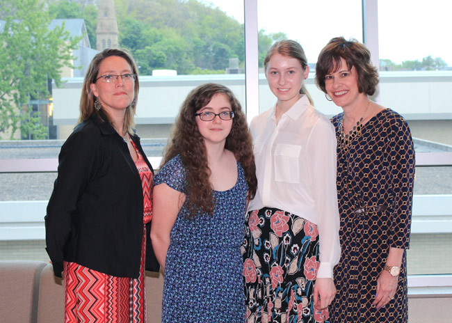 Scranton-area high school French contest winners who attended the awards dinner at King's College are, from left: Renee Schwartz, AATF chapter president; Rebecca Warholic, Elk Lake High School; Elda Hricko, Scranton Preparatory School; and Barbara Alfano, AATF secretary treasurer and French contest administrator.