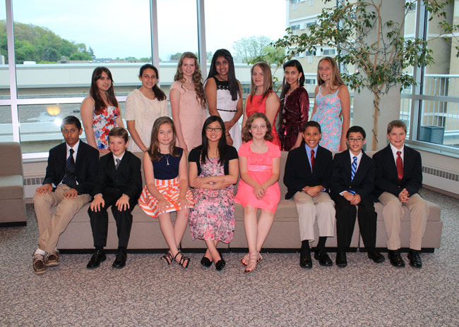 Wyoming Seminary Lower School winners who attended the awards dinner at King's College are, seated from left: Akhi Khakhar, Kyle Hromisin, Elena Fenster, Isabel Hou, Vivian Wright, Jonah Pascal, Oliver Lew, and Evan Hromisin. Standing: Beyza Akinci, Ashley Tarud, Gabrielle Snyder, Meghna Melkote, Kelly Williams, Aishani Chauhan, and Parker Callahan.