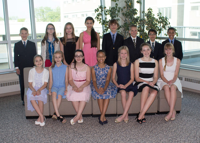 Wyoming Seminary Lower School winners who attended the awards dinner at King's College are, seated from left: Ainsley Eidam, Camilla Caporale, Alyssa Shonk, Mya Pyke, Emily Aikens, Molly Leahy, and Jessica Kilyanek. Standing: Kyle Hromisin, Emma Douthett, Elena Fenster, Aishani Chauhan, John Coates, Evan Hromisin, Oliver Lew, and Jonah Pascal.