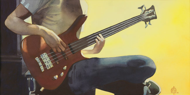 """Laid Back Bass,"" a watercolor by Michael Hiscox will be on display in the ""Spirited Energy"" exhibition in the Widmann Gallery at King's College."