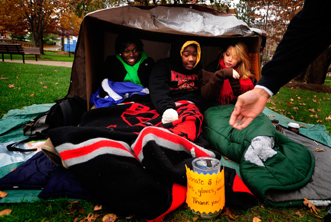 King's students will once again participate in the 60-hour homeless experience in Monarch Court, beginning  at 9 a.m. Monday, Nov. 12.  Funds raised will be donated to local shelters.
