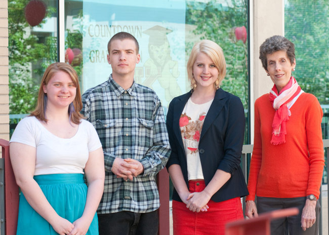 Standing from left: Kelsey Jones, Jesse Harvey, Taylor Brainard,  and Mollie Farmer, director of King's Study Abroad Program.