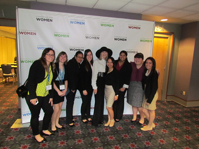 Pictured, from left, is Tara Zdancewicz, Mary Evans, Mineyris Novas, Margaret Walsh, Diane Keaton, Dafne Paramo, Nirvana Chand, Julia Frampton, and Lauren Martinez.
