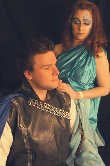 "Thomas Taraszewski and Brandi George rehearse for King's College Theatre Department's production of Shakespeare's comedy, ""A Midsummer Night's Dream."""