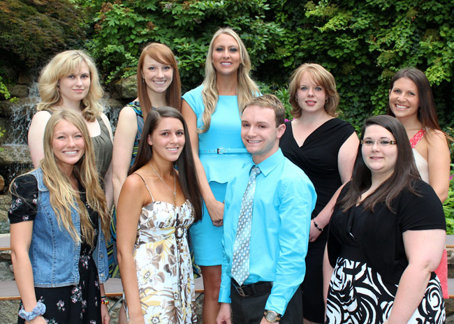 Pictured in first row, from left, is Carissa Wells, Harding; Victoria Yozwiak, Plains; Sean Gaffney, Freeland; and Jillian Emerick, Wilkes-Barre. Pictured in second row, from left, is Amanda Evans, Mountain Top; Kristen Justice, Dallas; Amanda Yakobitis, Pittston; Alysha Beck, Wapwallopen; and Amy Sperling, Dallas.