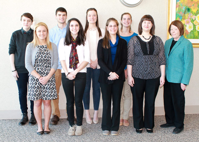 Pictured in first row, from left, are student inductees Sarah Skiro, Erin Williams, Kayla E. Havens and Tiffany J. Centak.  Pictured standing at far right, is  Dr. Jean P. O'Brien, professor of psychology and faculty moderator of Psi Chi.  Pictured in second row, from left, is Gabriel G. Gross, Kyle W. Poray, Kelci L. Wolfe, and Alanna M. Cosgrove.       Absent from photo were Elizabeth Donovan, Melissa Francomacaro, Kyle Newton, and Lucas Seaberg.