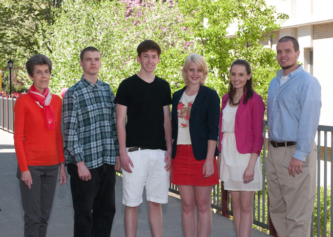 King's students studying under the King's College Study Abroad program are, standing from left: Mollie Farmer, director of the study abroad program; Jesse Harvey, Nicholas Vera, Taylor Brainard, Danielle Kean, and Anthony Cardone.