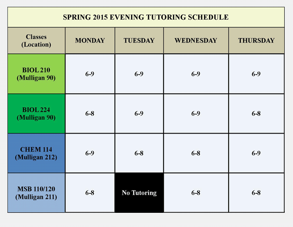 SP15 Evening Schedule
