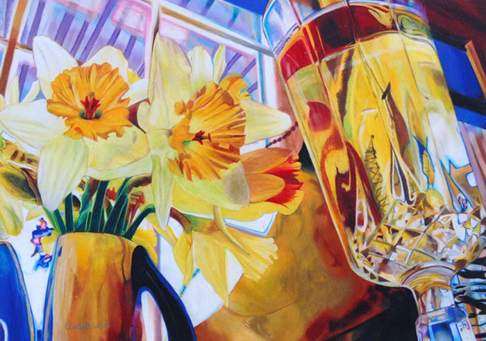Daffodils & Glass, colored pencil by Elizabeth Weed will be on display in the Widmann Gallery at King's College. Weed is a ninth grade student at Bethlehem Catholic High School.