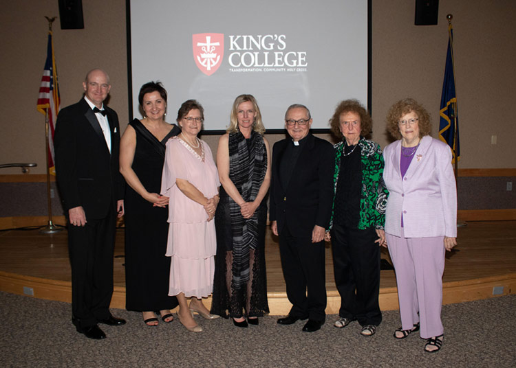 Joseph Evan, Renata Evan, Michelle Giovagnoli, Beth Admiraal, Rev. John Ryan, C.S.C., Ph.D., President of King's College, Magdalen Iskra, and Martha Iskra.