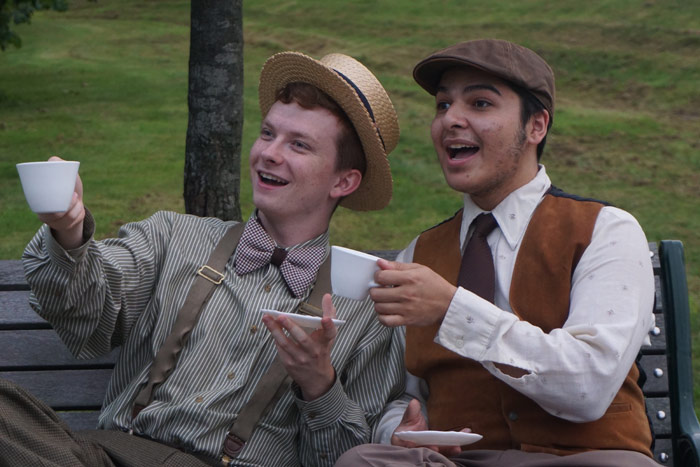 "Rehearsing for upcoming King's College Theatre Department's production of the musical ""A Year With Frog and Toad"" are Dylan Koch and Andrew Martinez."