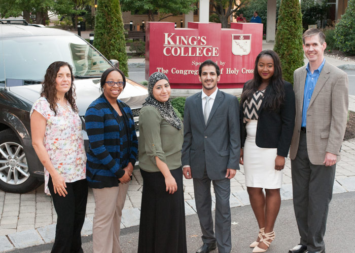 From left,  Dr. Janice Thompson, theology department; Jasmine Tabron, Diversity Office; students Sara Ahmed, Umar Alkhaldi, Ida Dumbuya; and Dr. William Bolan, Shoval Center for Community Engagement and Learning.
