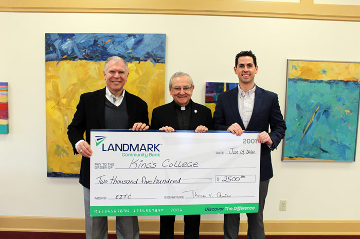 Thomas Amico, Landmark Community Bank President/Chief Executive Officer, Rev. John Ryan, C.S.C., Ph.D., President of King's College; Thomas Sohns, Landmark Community Bank Vice President/Commercial Lender III.