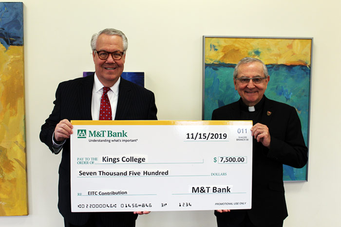 Phil Johnson, M&T Bank Regional President; Rev. John Ryan, C.S.C., Ph.D., President of King's College