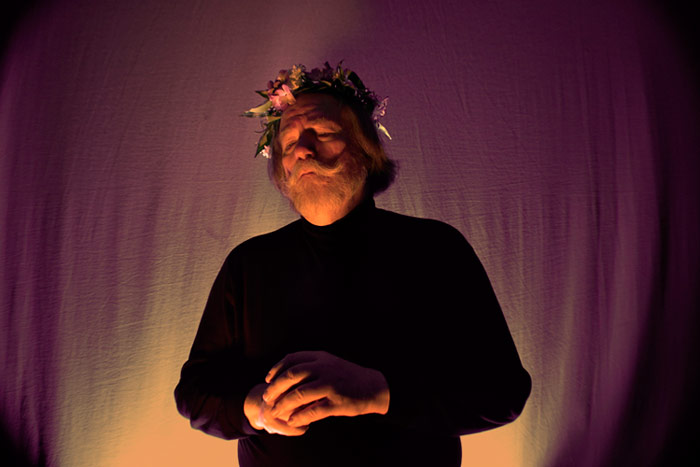Pictured is King Lear, portrayed by Dr. Brian Pavlac, at rehearsal
