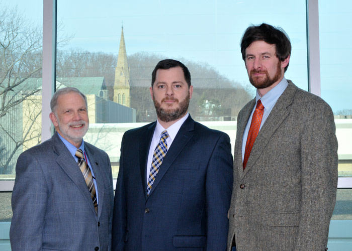 Brother Stephen LaMendola, C.S.C., Education Department student teacher supervisor; Michael Langan, 2016 Outstanding Adult Learner at King's College; and Dr. Thomas Mackaman, assistant professor of history.