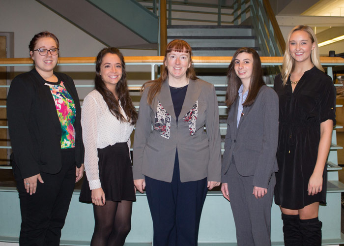 From left to right: Caryn Wielgopolski; Olivia Spagnola; Dr. Amy Parsons, King's College professor of marketing; Eryn Harvey; and Leah Laneski.