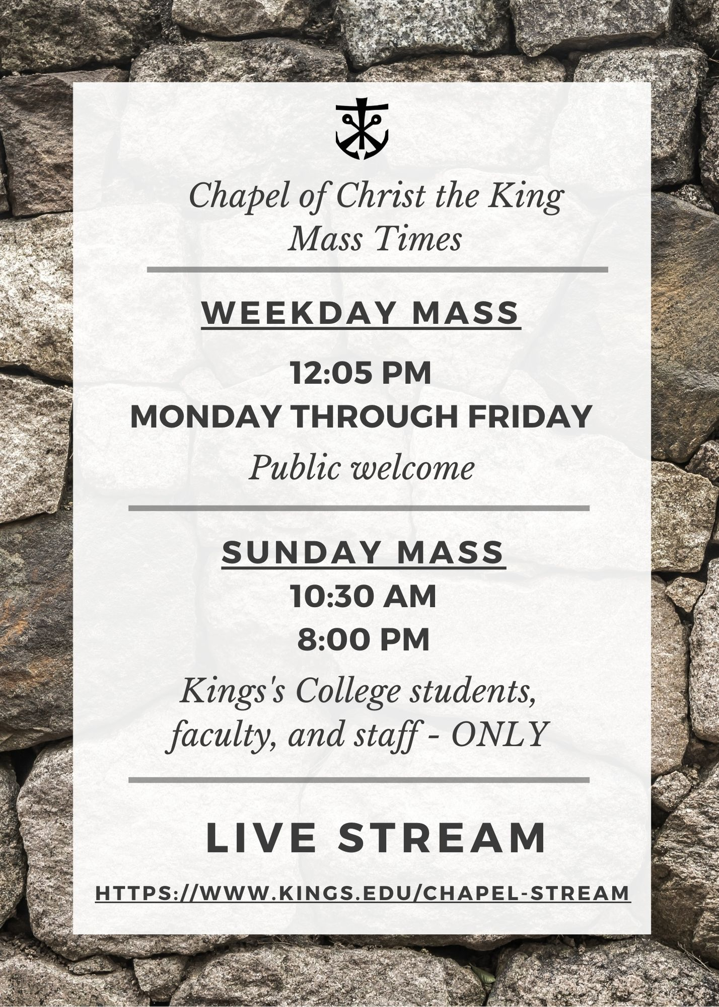 Mass Schedule for Chapel of Christ the King