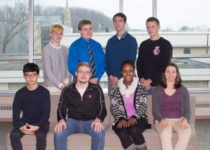 Pictured are student representatives from the participating high schools.  Pictured seated, from left, is Seongjin Park, Wyoming Seminary; Andrew Barna, Berwick Area; Miquan Nowell, Meyers; and Leandra Ramos, Nanticoke Area.  Pictured standing, from left,