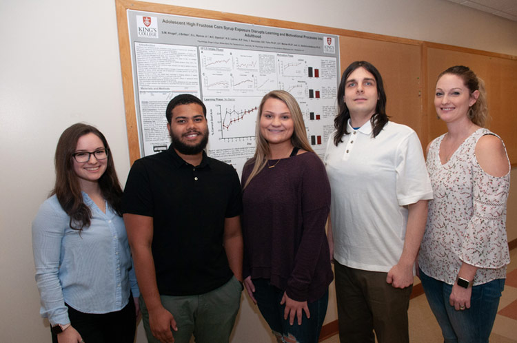 Pictured, from left, is Jennifer Britten, a 2018 graduate of King's; current students Dabriel Ramos, Stephanie Krugel, and Nathanial Dyanick; and Dr. Jessica Anderson, assistant professor of psychology at King's.