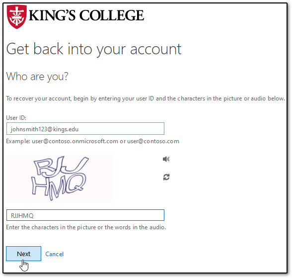 King's College SSPR page