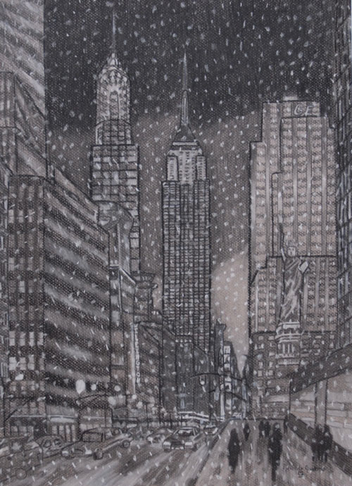 """Snowflakes in the City,"" charcoal by Miranda Nardone will be among the creative works by six local high school students on display through August 25 in the ""6 Girls and Their Art"" exhibition in the Widmann Gallery at King's College."