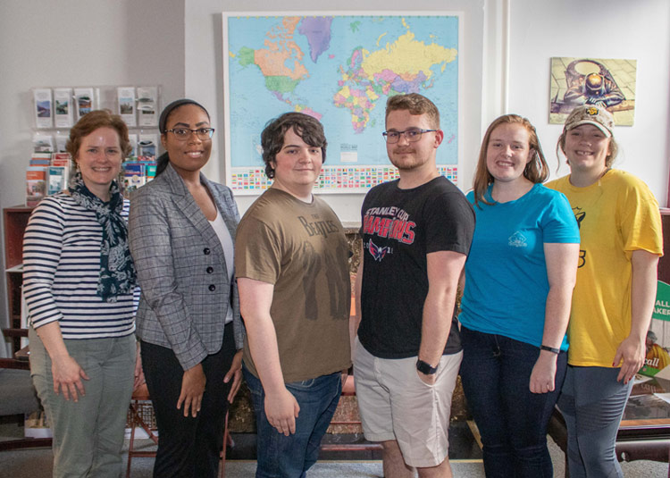 Pictured, from left, is Margaret Kowalsky, director of the King's Office of Study Abroad; and students Risher, Laverty, Willet, Cottell, and Rizzo.