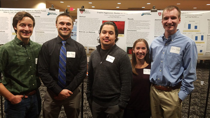 King's College environmental science majors who presented their research findings recently at the 11th Annual Susquehanna River Symposium at Bucknell University are, from left: Nicholas Martino, Joseph Tona, Joseph Ramos, Kimberlee O'Hop, and Peter Lange
