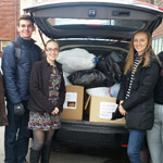 We complete service projects, such this clothing drive, that benefits our community.