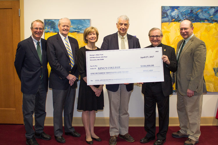 Pictured, from left, are Alden trustees, Doug Meystre, Jim Collins, Gail Randall, and Warner Fletcher; King's College President Father John Ryan, C.S.C.; and Dr. Paul Lamore, associate professor of management and director of the engineering program.