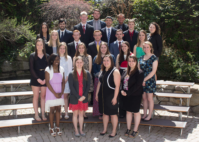 Forty five King's College juniors and seniors were recently inducted into the Aquinas Society, the King's honor society.