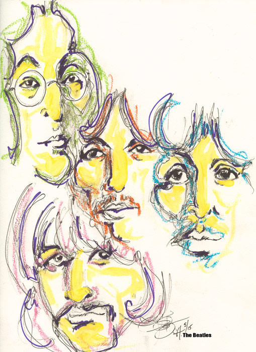 """The Beatles,"" pastel by Erika Gibson-Bertram will be on display in a free public exhibition titled, ""Rock and Roll in Art and Music"","" through April 28 in the Widmann Gallery at King's College."