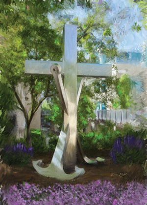Cross and Anchor painting mass card