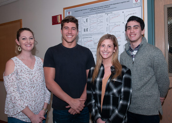Pictured, from left, is Dr. Jessica Anderson, assistant professor of psychology at King's, and student presenters Rhyce Hammaker, Carlye Tehan, and Alex Maya-Romero.