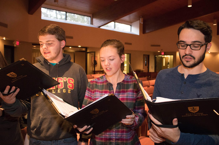 Pictured from left are Cantores Christi Regis members, Jordan Wood, Casey Cryan, and Sean Maloney