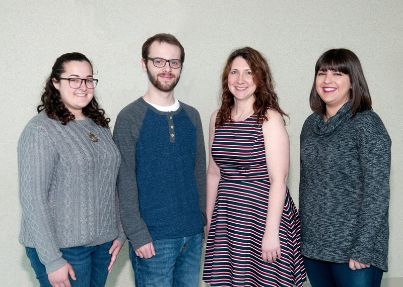 Pictured, from left are: Samantha Bucher, Patrick Corcoran, Amy Higgins, and Tristin Milazzo.