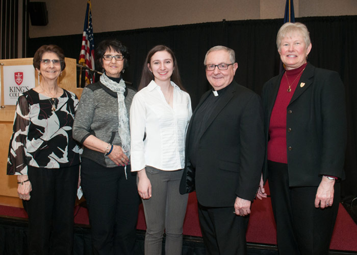 Pictured, from left, is Nancy Shea, mother of Colleen; Ginny Everts, Colleen's aunt; Durling; Father John Ryan, C.S.C., King's president; and Janet Mercincavage, vice president for student affairs at King's.