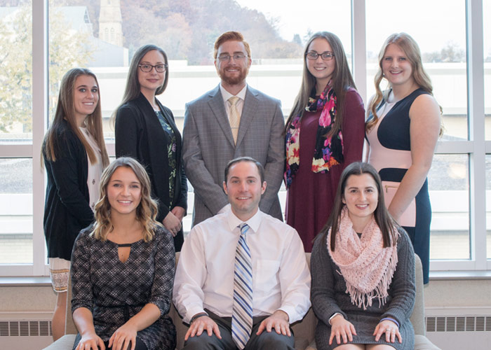 Pictured seated, from left, is Larissa Stucker, Christopher Kempinski, and Kaitlyn Lukashewski. Pictured standing, from left, is Tara Johnson, Jessica French, Kristopher Gildein, Elizabeth Koch, and Kathryn Wynn.