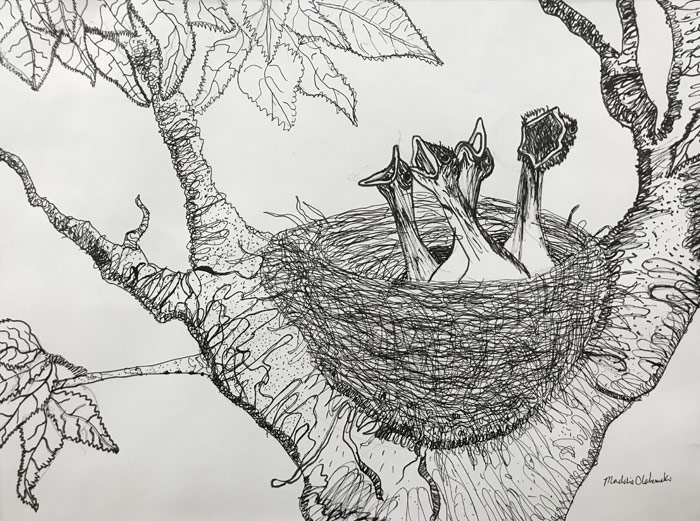 "A pen and ink sketch by Maddie Olshemski will be among the creative works by local elementary students on display through July 14 in the ""Young Artists"" exhibition in the Widmann Gallery at King's College."