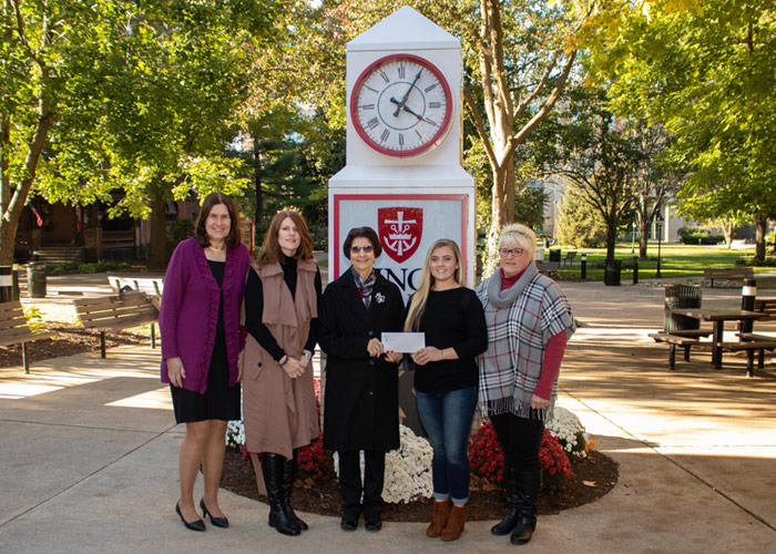 Pictured, from left, is Ann Marie Durako, member of the selection committee; Patti Prociak, president of the Colleen Shea Children's Foundation; Nancy Shea, mother of Colleen; Bailey Jordan, scholarship recipient; and Brenda Jordan.