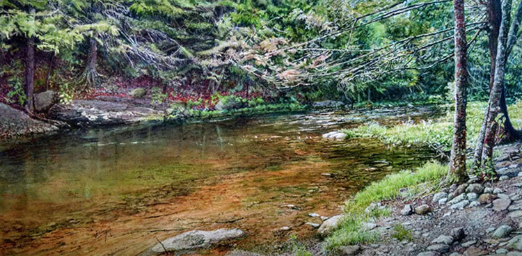 """Bowman's Creek,"" watercolor painting by Frank Wengen will be one of several creative works on display during the ""Serene Scenery: Elevating the Everyday Landscape,"" exhibition from April 2-27 in the Widmann Gallery at King's College."