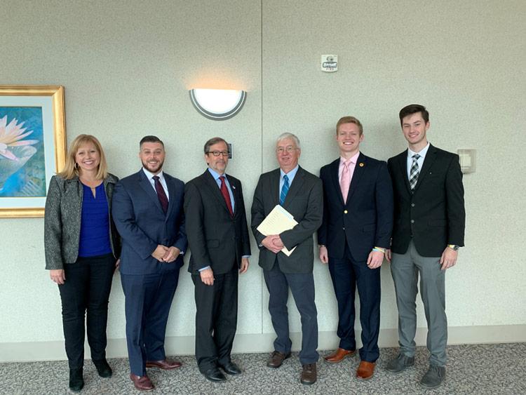 Shown, from left, is Attorney Malski-Pezak, Attorney, Solomon, Judge Cosgrove, Attorney Rish, Huntington, and Betz.