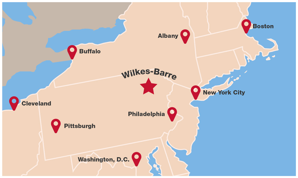 map of northeastern US and King's College proximity to major cities.