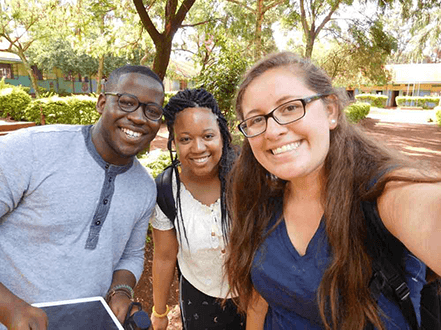 Laura posing for selfie while studying abroad in Uganda.