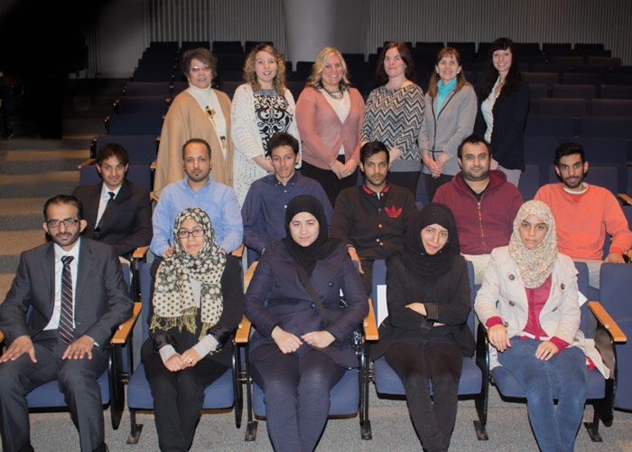 Pictured in front row, from left, is Dr. Jarman Algahtani, University of Scranton; and Saudi Club at King's College members and event organizers  Fatimah Al-Saeed, Maryam Almarhoon, Dana Almeshqab, and Hidayh Al Saihati.  Pictured in second row, from left